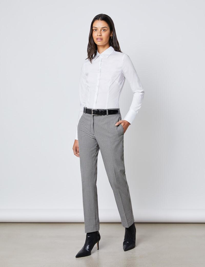 Bluse – Slim Fit – Baumwollstretch – Weiß