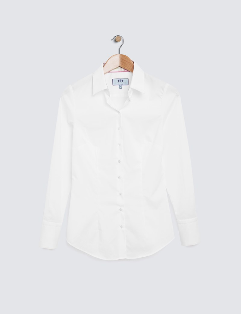 Ladies Fitted Cotton Stretch White  Shirt - Single Cuff