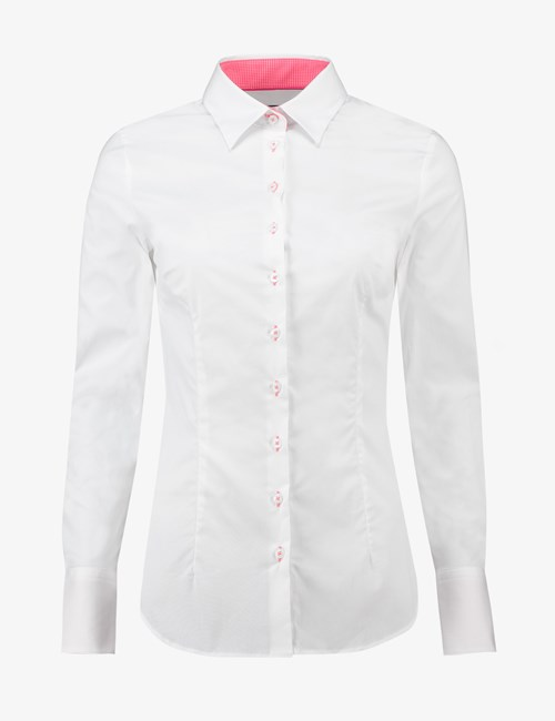 Women's White Fitted Shirt With Pink Contrast Detail - Single Cuff