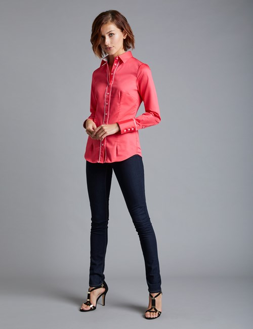 Women's Hot Coral & White Fitted Shirt With Contrast Detail - Single Cuff