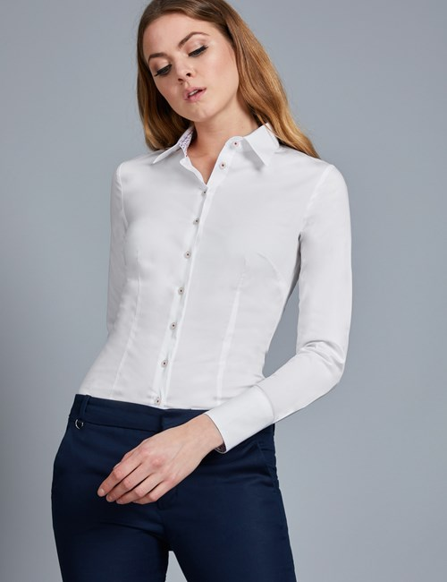 Women's White Fitted Stretch Shirt With Contrast Detail - Single Cuff