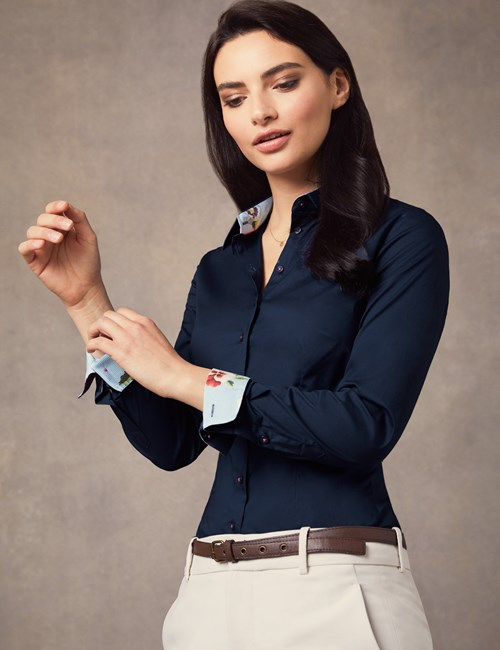 Women's Navy Stretch Fitted Shirt With Floral Printed Contrast - Single Cuff