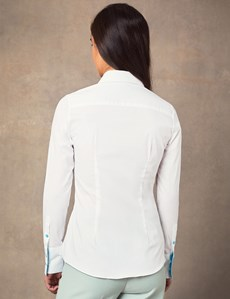 Women's White Stretch Fitted Shirt With With Contrast Collar & Cuff - Single Cuff