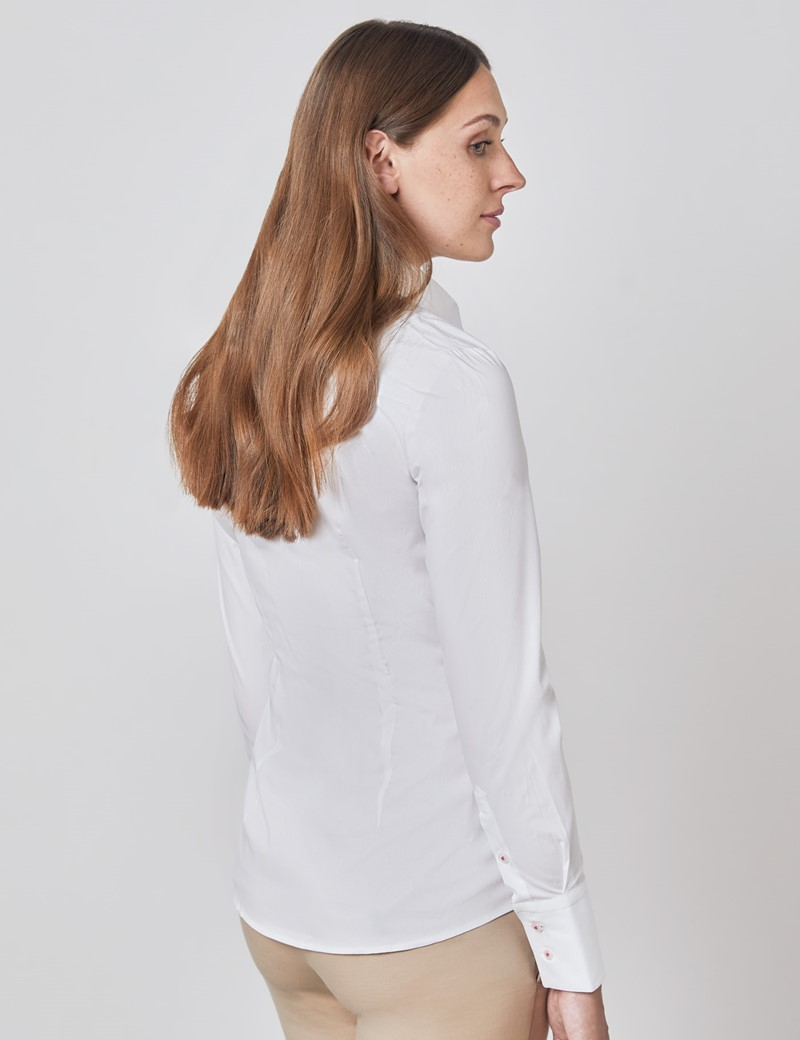 Women's Plain White Fitted Shirt with Contrast Details - Single Cuff