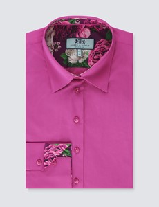 Women's Plain Magenta Fitted Shirt with Contrast Details - Single Cuff