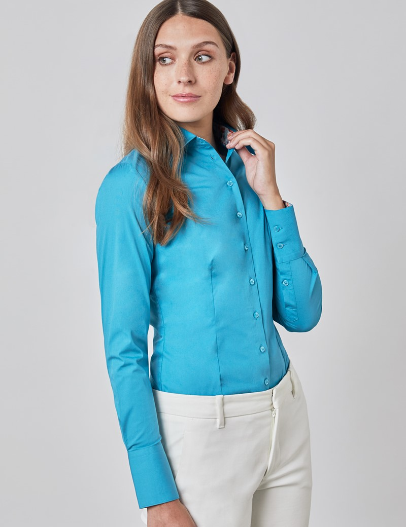 Women's Plain French Blue Fitted Shirt with Flamingo Print Contrast Details - Single Cuff