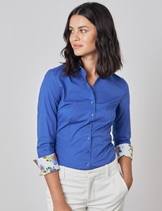 Women's Plain Electric Blue Fitted Shirt with Contrast Details - Single Cuff