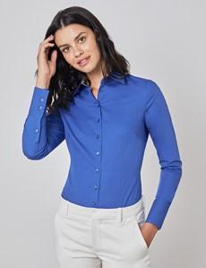 Bluse – Slim Fit – Baumwollstretch – königsblau mit Blumen Kontrasten