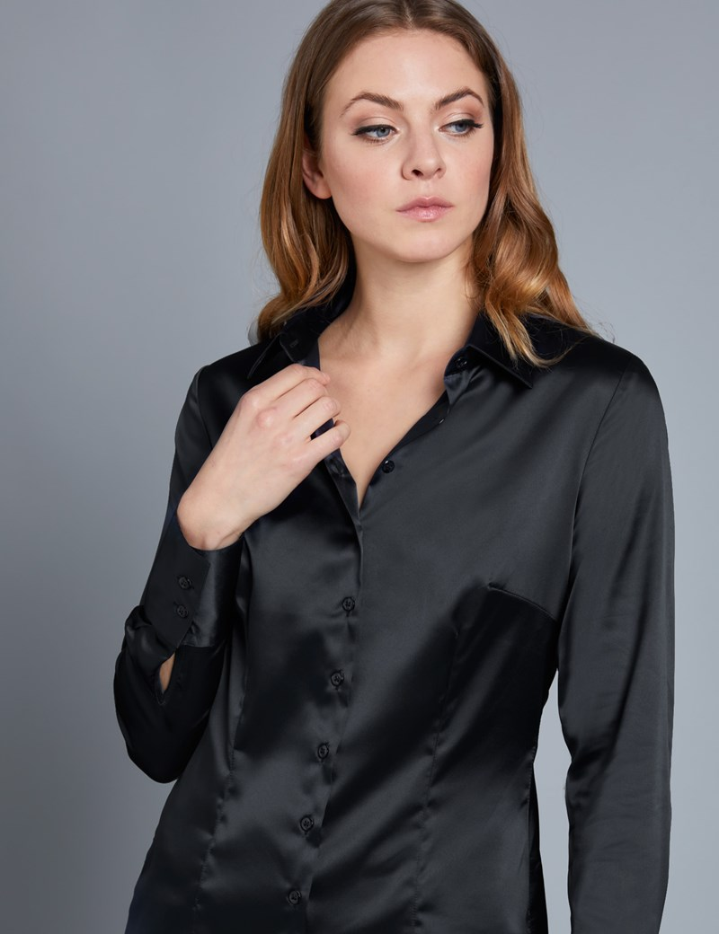 Women's Black Fitted Satin Shirt - Single Cuff