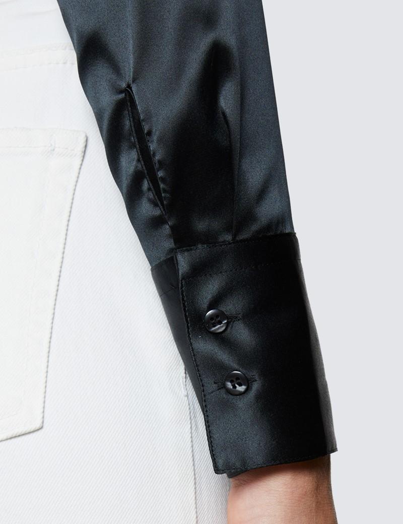 Bluse – Slim Fit – Satin – Schwarz