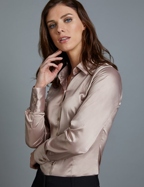 Bluse – Slim Fit – Satin – Taupe