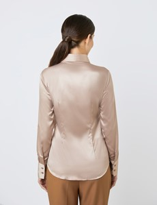 Women's Taupe Fitted Satin Shirt - Single Cuff