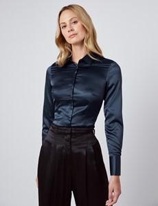 Women's Navy Fitted Satin Shirt - Single Cuff