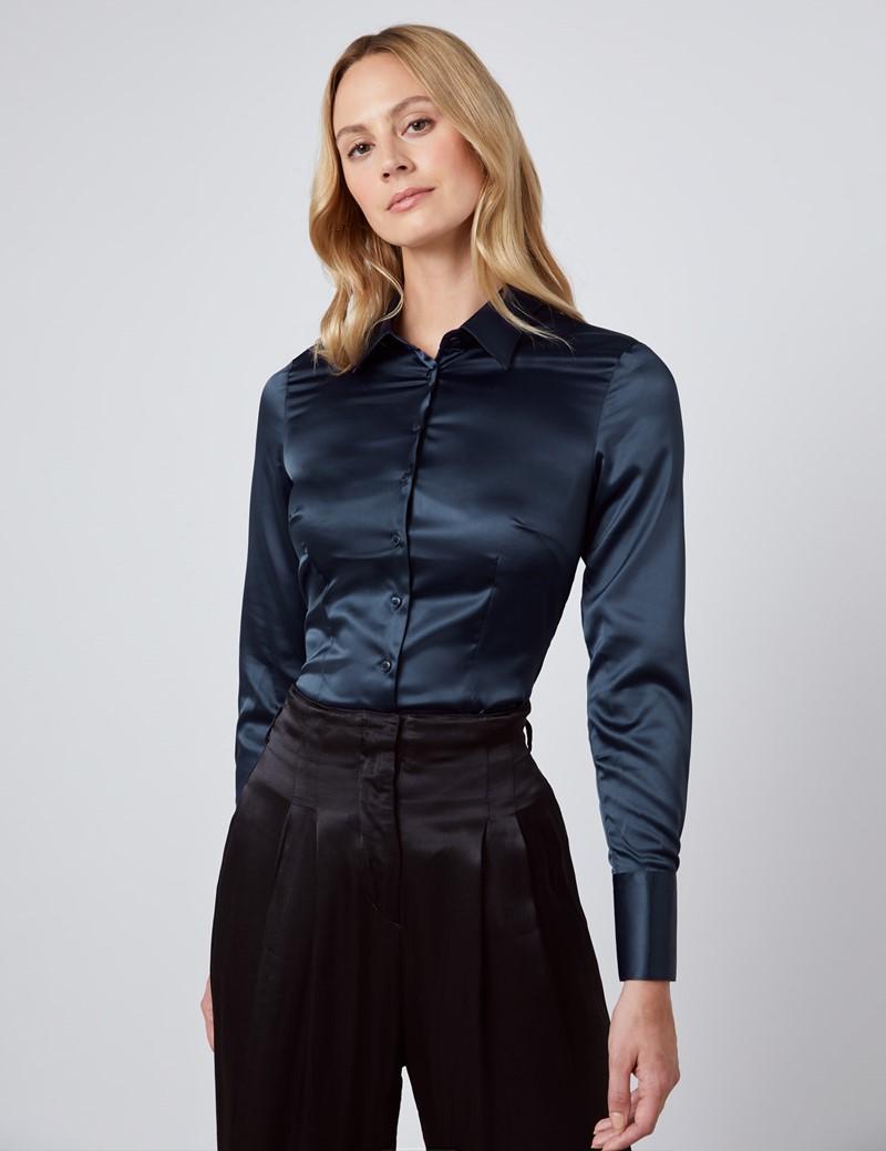 Women's Navy Fitted Satin Shirt - Single Cuff