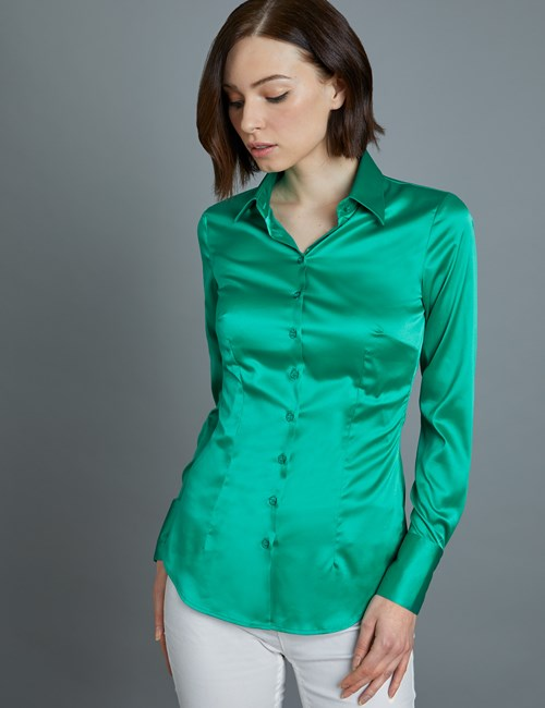 Women's Green Fitted Satin Shirt - Single Cuff