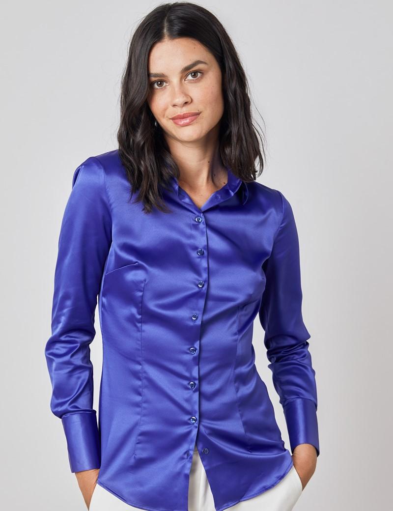 Women's Plain Electric Blue Fitted Satin Shirt - Single Cuff