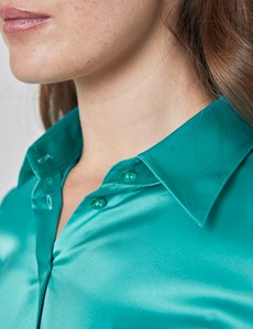 Women's Plain Jade Fitted Satin Shirt - Single Cuff