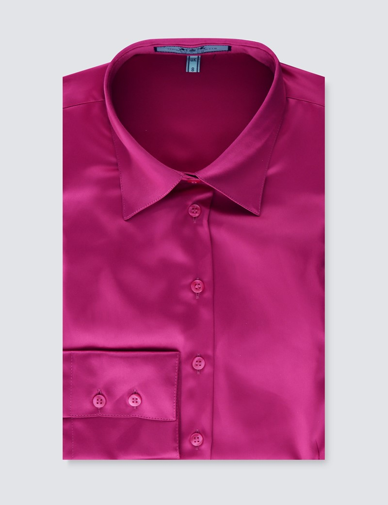 Women's Plain Bright Pink Fitted Satin Shirt - Single Cuff