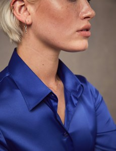 Women's Blue Fitted Satin Shirt - Single Cuff
