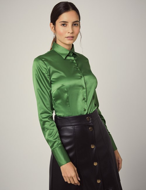 Women's Cactus Green Fitted Satin Shirt - Single Cuff