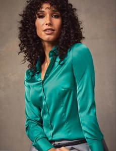 Women's Peacock Green Fitted Satin Shirt - Single Cuff