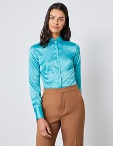 Women's Ocean Blue Fitted Satin Shirt - Single Cuff
