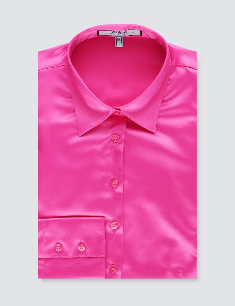 Bluse – Slim Fit – Satin – Fuchsia