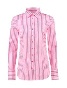 Women's White & Pink Stripe Fitted Cotton Shirt - Single Cuff