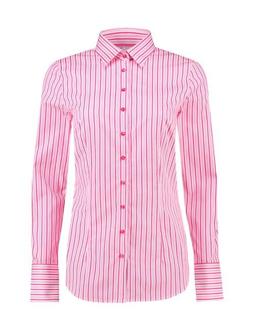 Women's White & Pink Stripe Fitted Cotton Shirt - Single Cuff