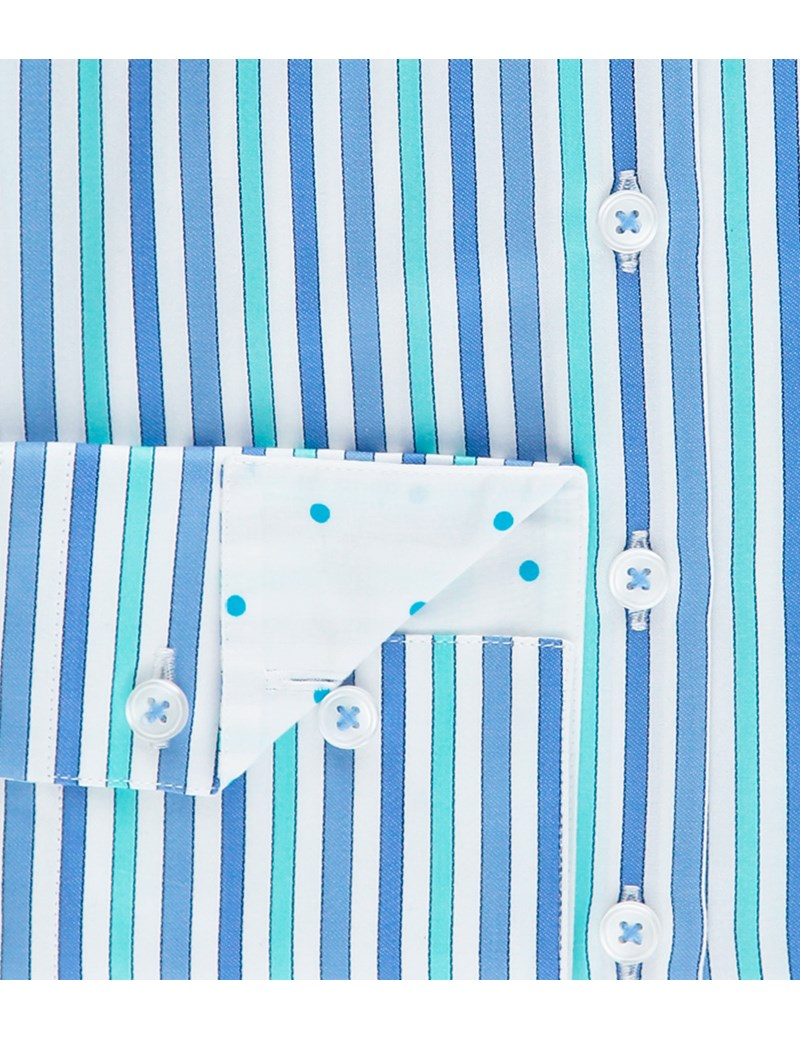 Women's Blue & Turquoise Multi Stripe Fitted Cotton Shirt - Single Cuff