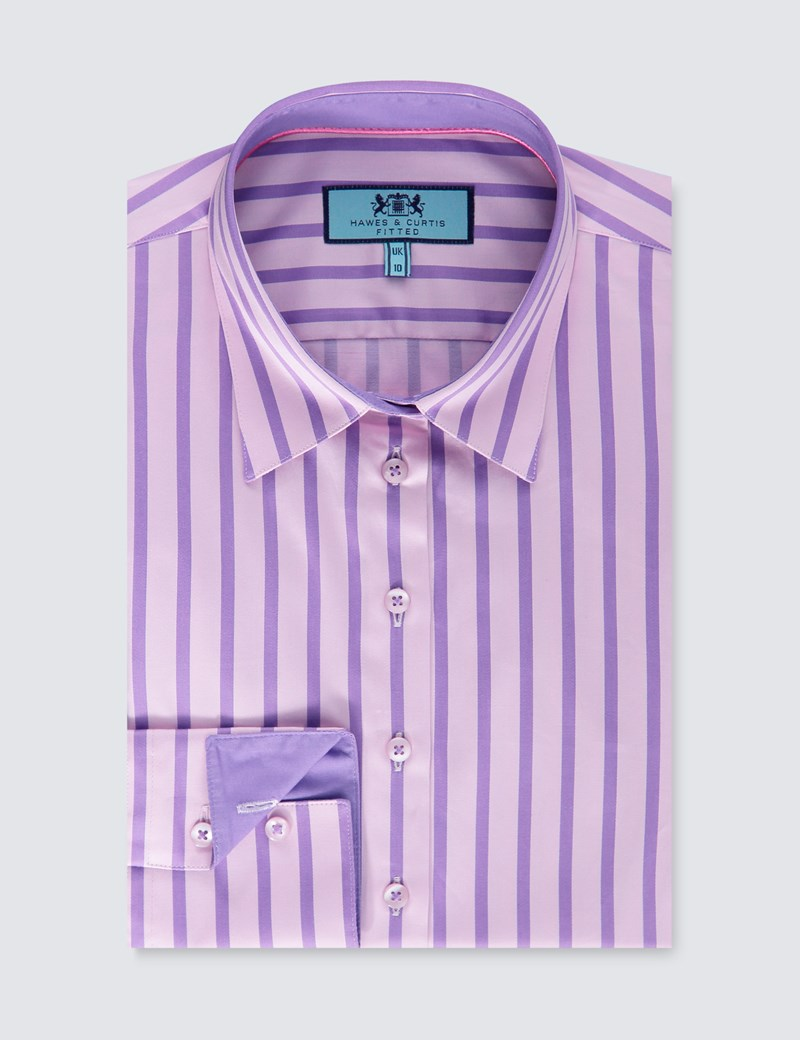 Women's Pink & Purple Stripe Fitted Shirt With Contrast Detail - Single Cuff