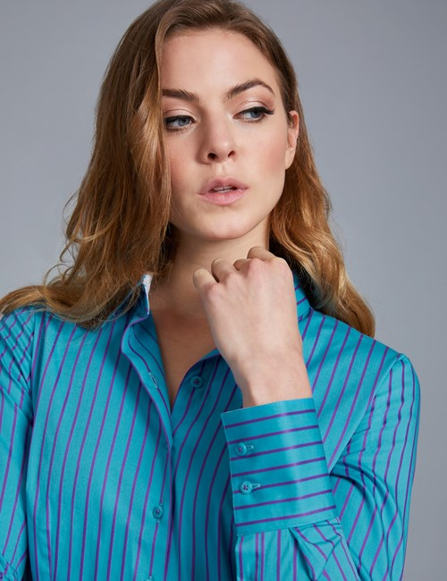 Women's Blue & Purple Stripe Fitted Shirt With Contrast Detail - Single Cuff