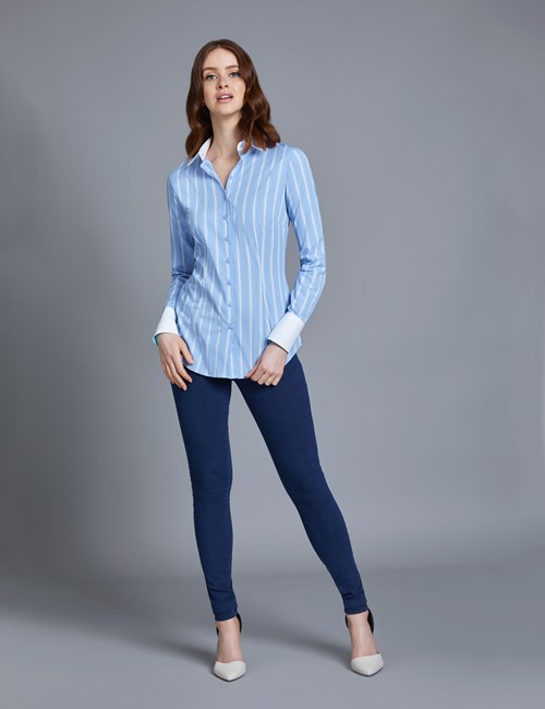 Women's Blue & White Multi Stripe Fitted Shirt With Contrast Detail - Single Cuff