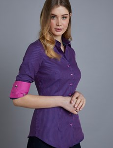 Women's Navy & Fuchsia Stripe Fitted Shirt - Single Cuff