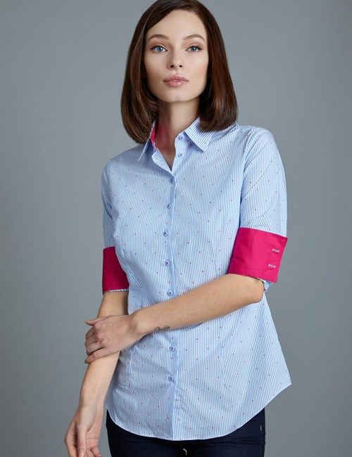 Women's Blue & White Stripe With Heart Print Fitted Shirt - Single Cuff