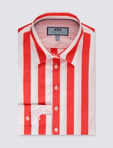 Women's White & Red Wide Stripe Fitted Shirt With Contrast Collar & Cuff - Single Cuff