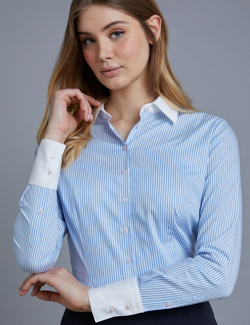 Women's Blue & White Bengal Stripe Fitted Slim Shirt With Contrast Collar & Cuff - Single Cuff
