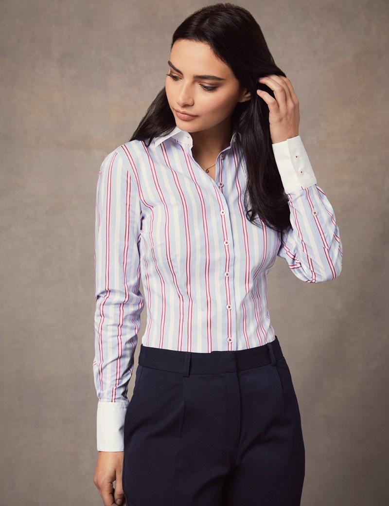 Women's Blue & Red Multi Stripe Fitted Slim Shirt With White Collar & Cuff - Single Cuff