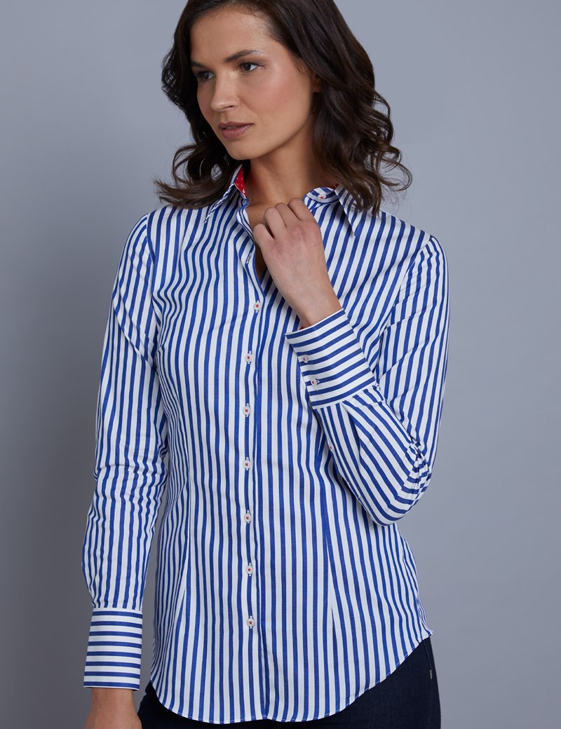Women's Royal & White Bengal Stripe Fitted Shirt With Contrast Detail - Single Cuff