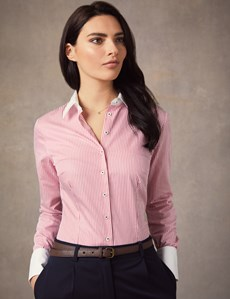 Women's Red & White Bengal Stripe Fitted Shirt With White Collar & Cuff - Single Cuff