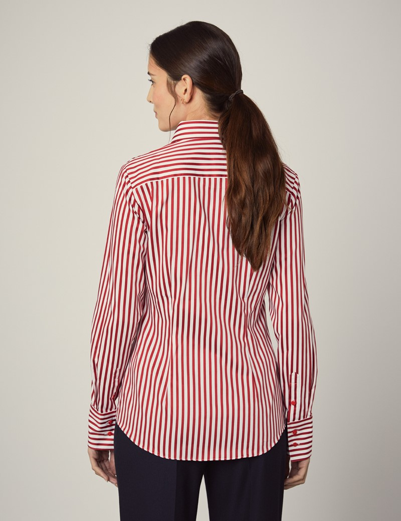 Women's White & Red Stripe Fitted Slim Shirt With Contrast Detail - Single Cuff