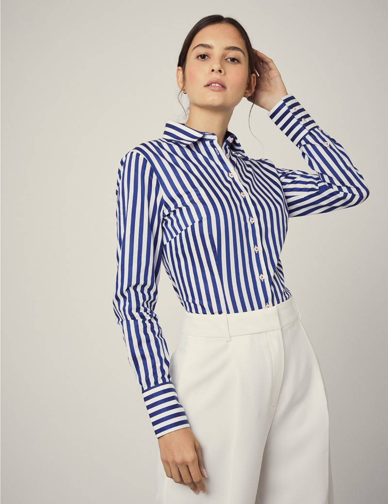 Women's White & Blue Bold Stripe Fitted Shirt With Contrast Detail - Single Cuff