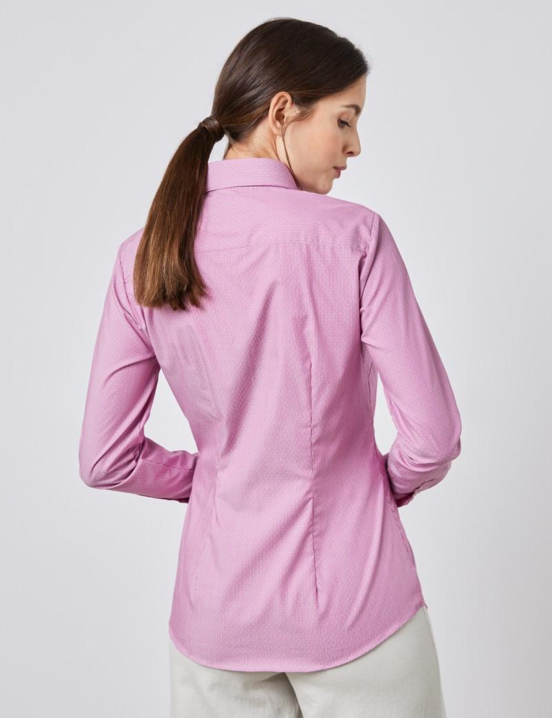 Bluse – Slim Fit – Baumwolle – Rosa mit weißen dünnen Streifen