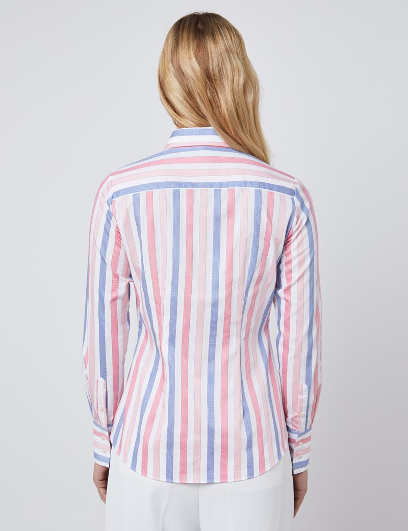 Women's White & Coral Bold Stripe Fitted Shirt - Single Cuff
