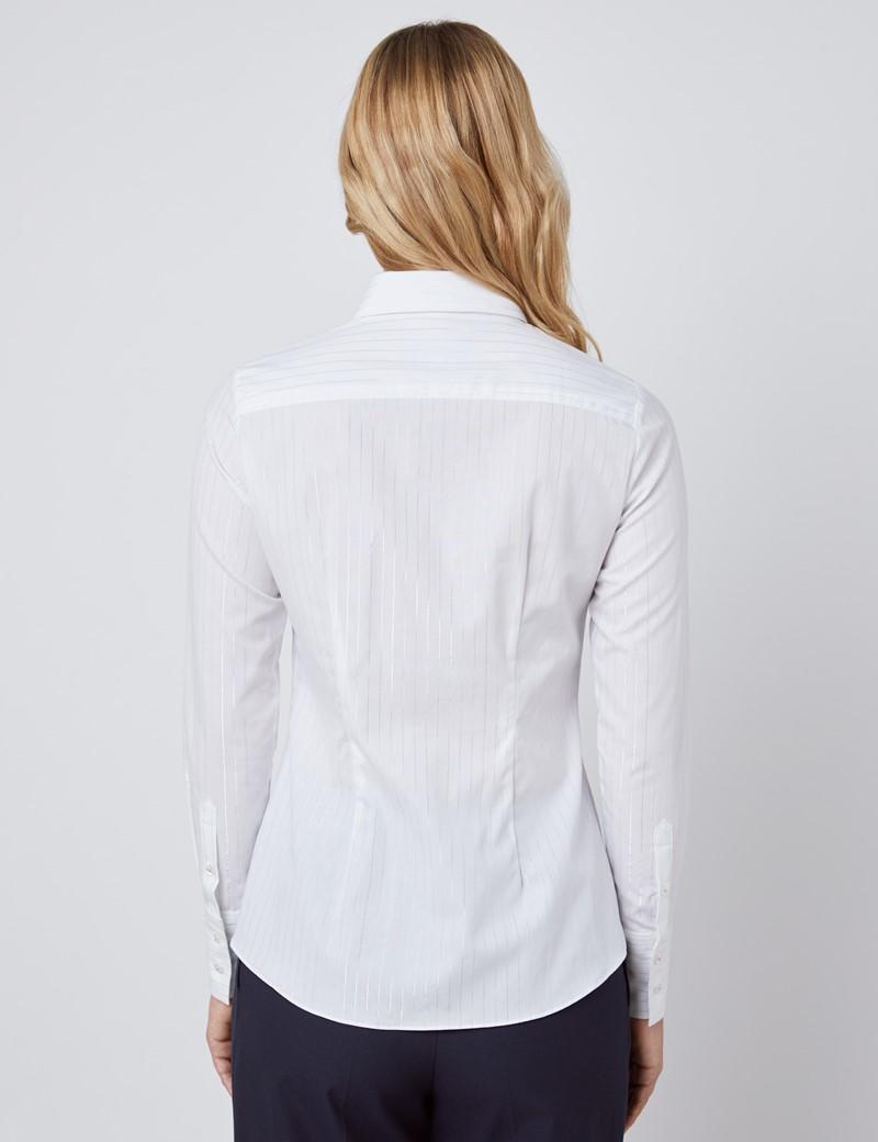 Bluse – Slim Fit – Baumwolle – weiß mit silbernen Lurex-Streifen