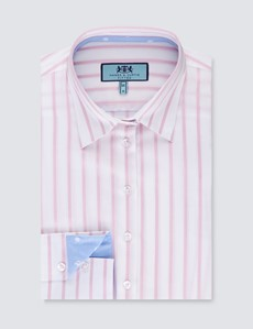 Women's White & Light Pink Stripe Fitted Shirt - Single Cuff