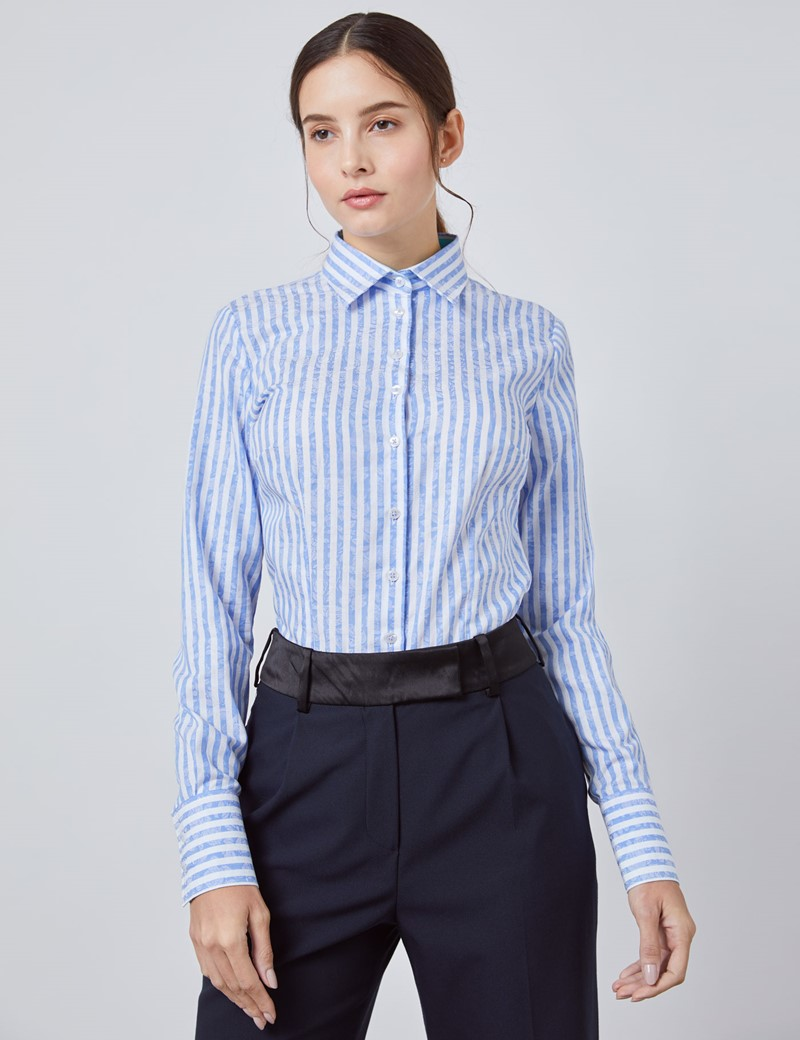Women's White & Blue Jacquard Floral Stripe Fitted Shirt - Single Cuff
