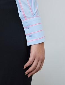 Bluse – Slim Fit – Baumwolle – hellblau mit feinen rosa Streifen