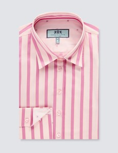 Women's Pink & Light Pink Bi-Colour Stripes Fitted Shirt - Single Cuff