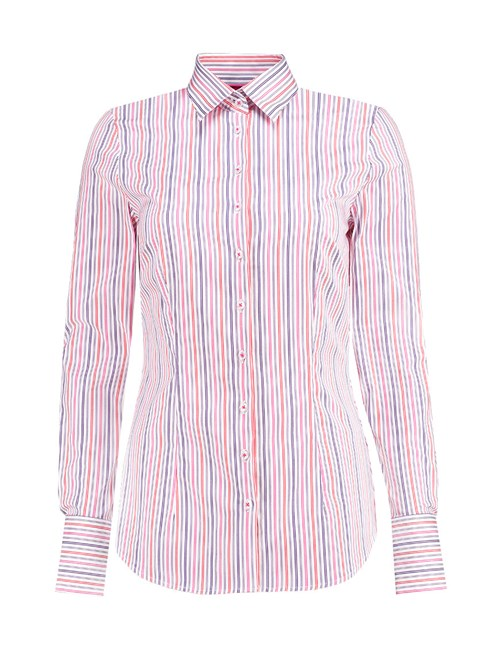Women's Purple & Pink Multi Stripe Fitted Cotton Shirt - Single Cuff